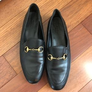 Womens Gucci Black Leather Horsebit Loafers - US 8